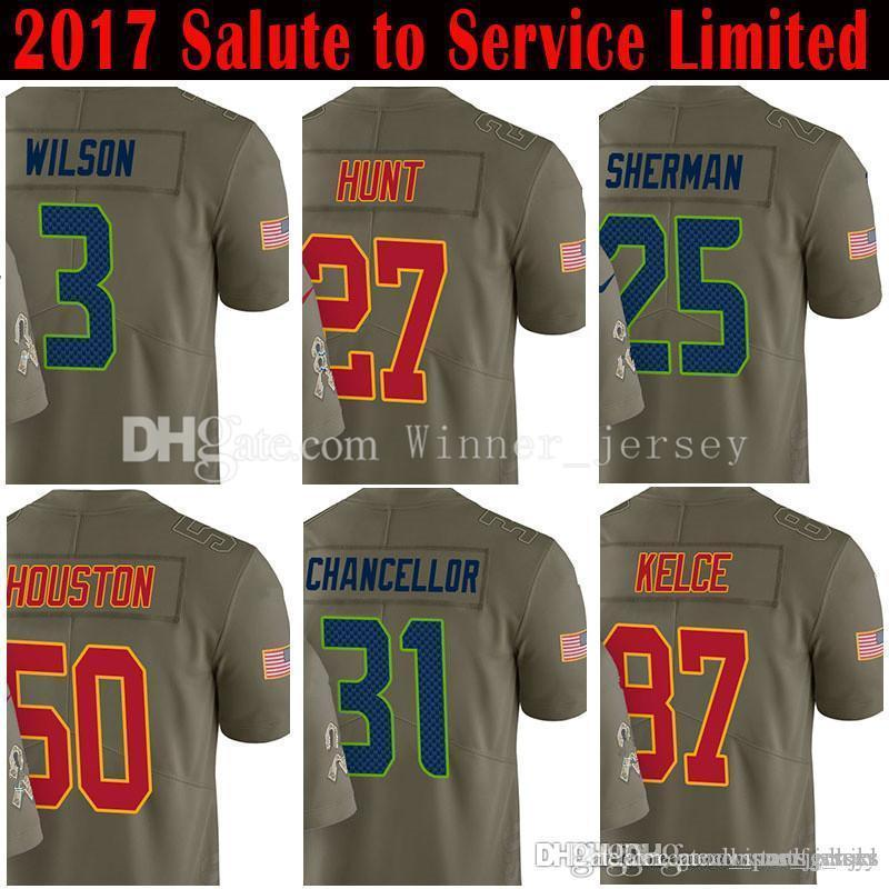 huge discount 14e7e a1112 3 Russell Wilson 12 12th Fan 27 Kareem Hunt Jersey 25 Richard Sherman 31  Kam Chancellor 2017 Salute to Service Limited Jerseys
