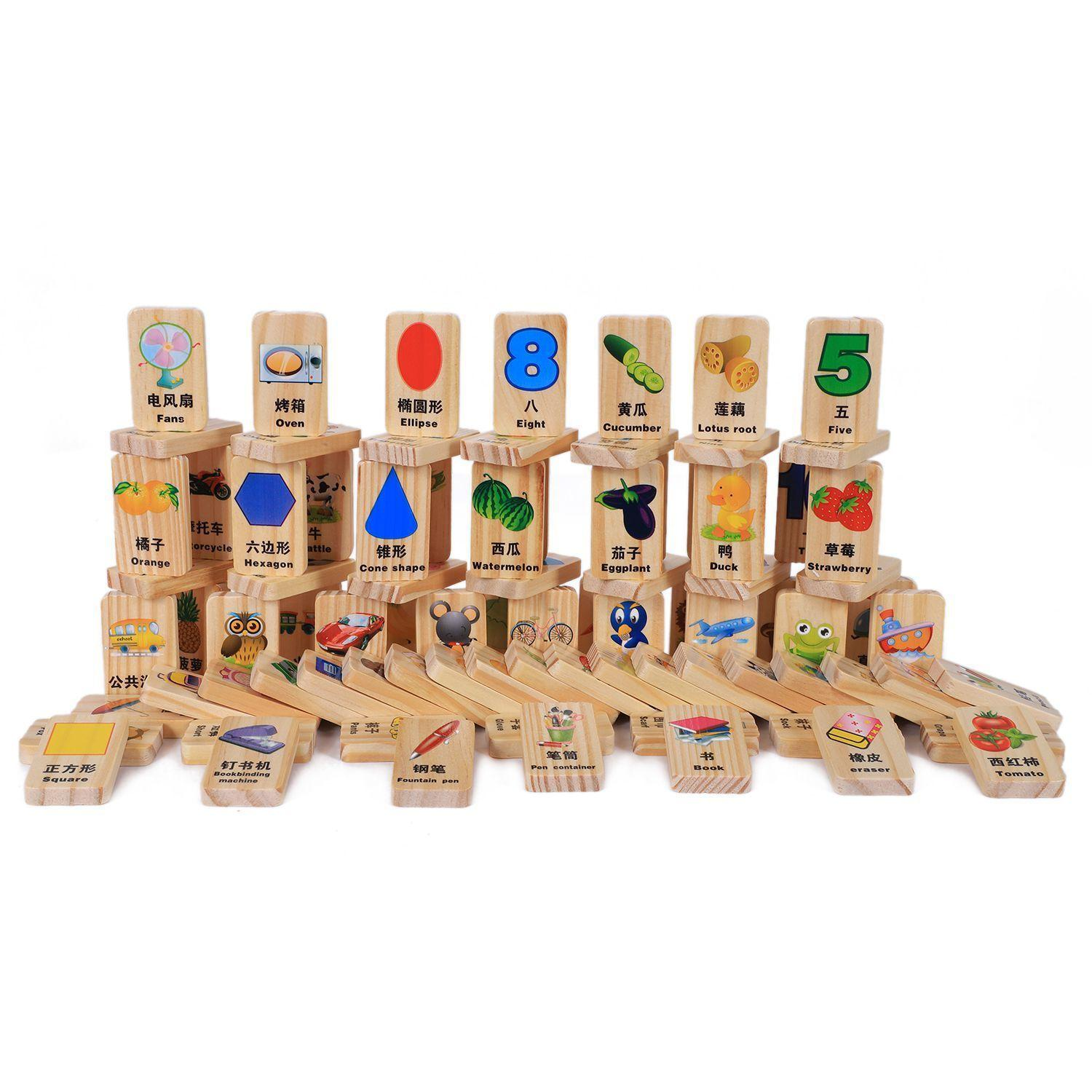 100 Pcs Wooden Blocks Domino Game Chinese Characters English Letter Animal Number Cartoon Pattern Learning Cognitive Toys,