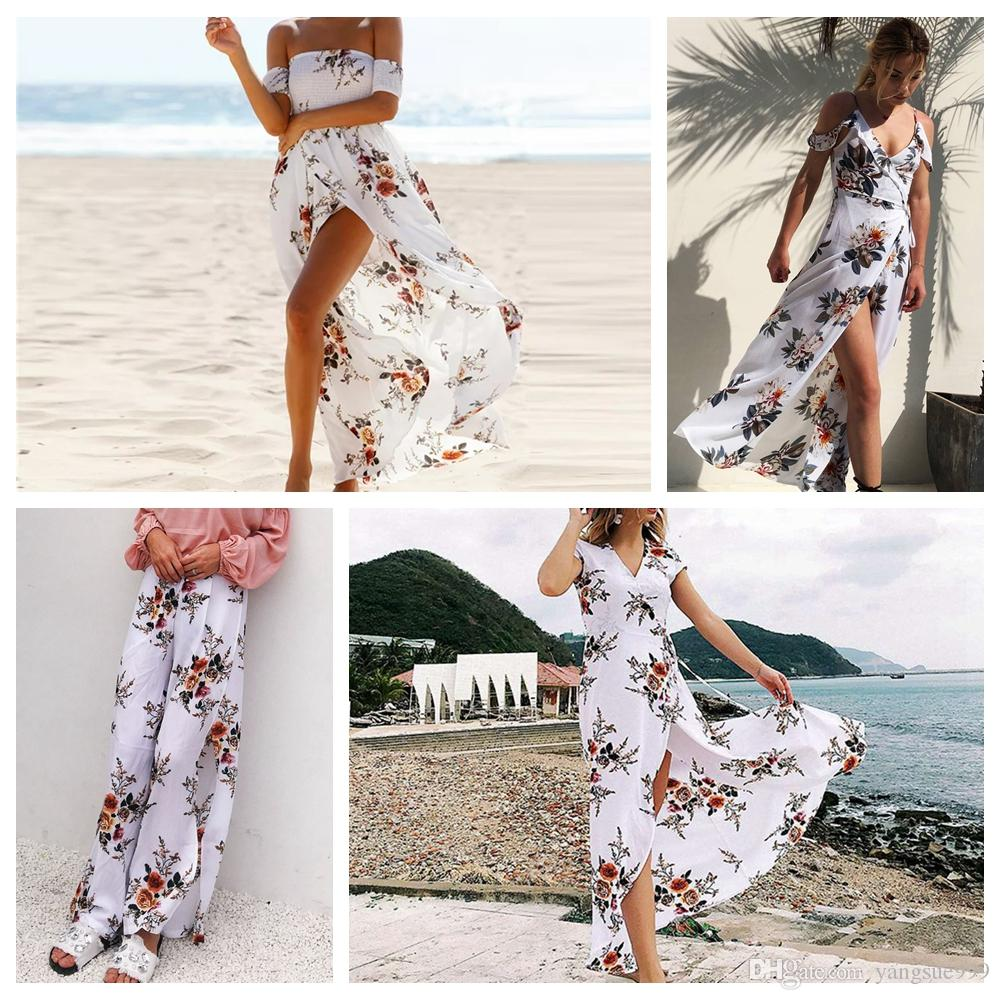 Floral Beach Dress Maxi Wrap Women's Summer Tunics Chiffon Long Swimsuit Cover Up Plus Size Sexy V Neck White Beachwear Outlet Cape 2019 New
