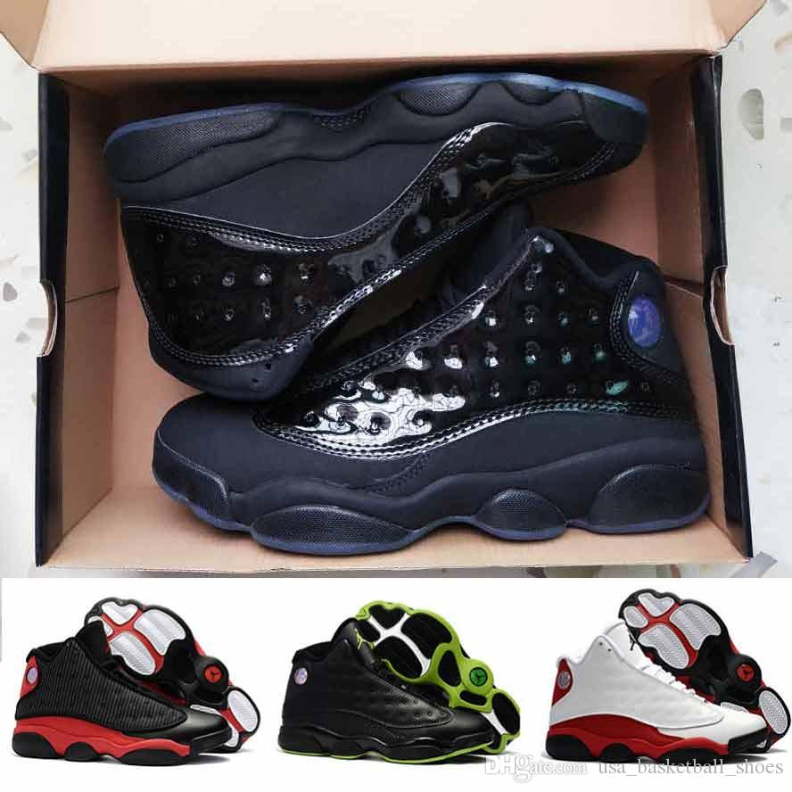 new style 169d6 008c8 Hot 13 13s Basketball Shoes Men Cap and Gown Atmosphere Grey Sneakers Man  Black Green White Blue He Got Game Sport Shoes