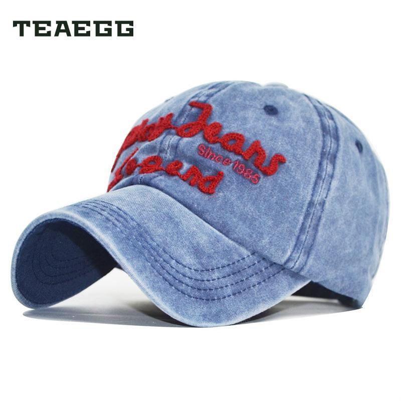 90968f385a5f8 Compre Teaegg Sombreros Cap Carta Gorras De Béisbol Mujeres Moda Sombrero  Hombres Vaquero Bordado Alfabeto Exterior 100% Lavado Denim Casual Snapback  A ...