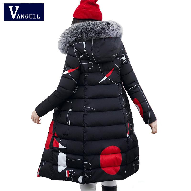 Vangull 2019 Winter Women Hooded Coat Fur Collar Thick Warm Long Jacket Both Side Wear Female Plus Size 3XL Outerwear Parka New