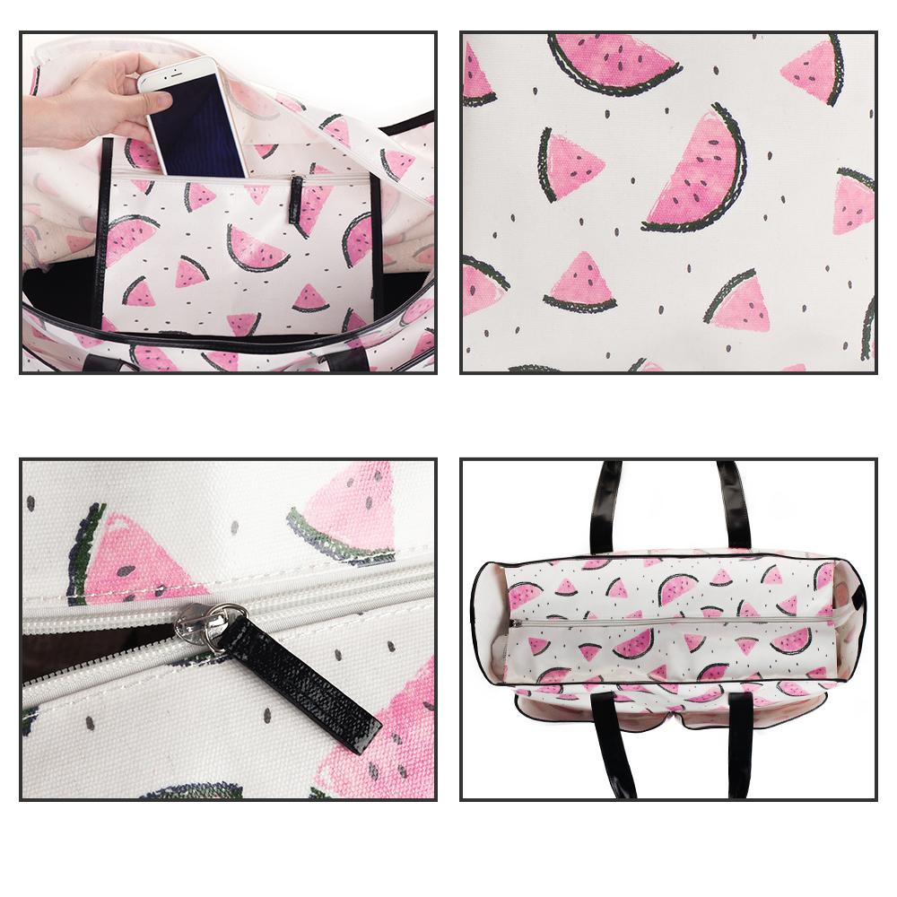 Mealivos watermelon Summer Women Canvas waterproof Shoulder Beach Bag Female Casual Tote Shopping Big Bag floral Messenger Bags
