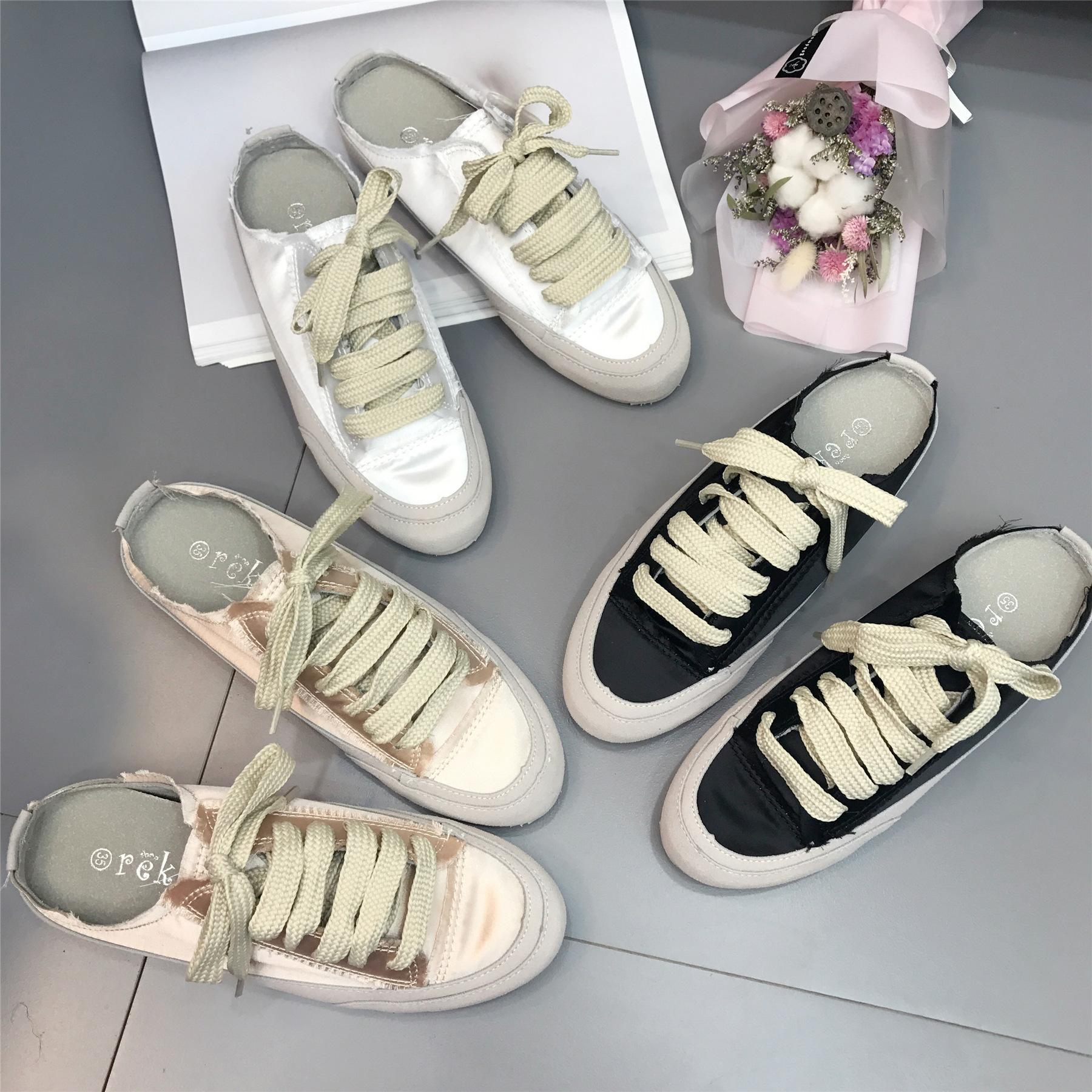 SWYIVY Silk Sneakers Shoes Woman Half Slippers 2018 Autumn Female Casual  Shoes Comfortable Brand Design Lay Slip On Pedal Shoes Boys Slippers Acorn  Slippers ... 548b6fa64227