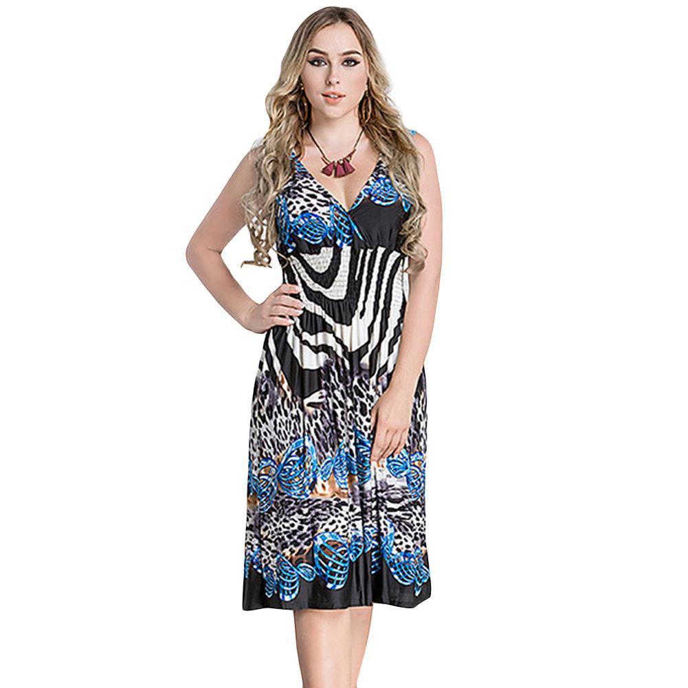 109b5257c3bf 2019 New Plus Size Women Midi Dress Geometric Print Deep V Neck Sleeveless  Elastic High Waist Elegant Party Dresses Black Teens Party Dress Cocktail  Dress ...