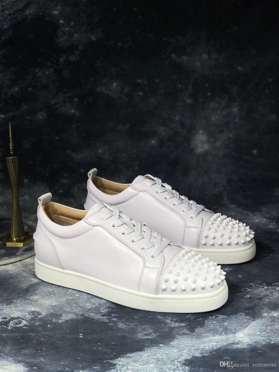 High Quality Men Women Red Bottom Sneakers with Spikes White Leather ... 20e443a3b824