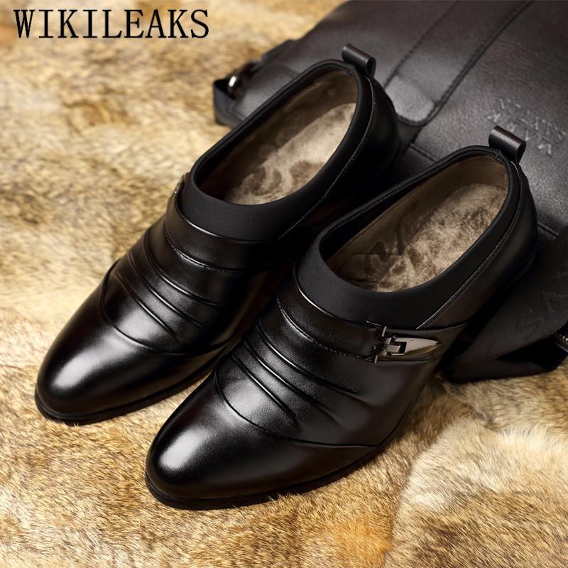 a8f7340ef2 Compre 2019 Zapatos Formales De Cuero De Hombre Zapatos Oxford Para Hombre  Mocasines Vestido De Novia Zapatillas Vestir Hombre Chaussures Hommes  Pointu A ...