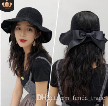 5d759bdc20d Beach Cap Summer Hats Fashion Bowknot Sun Visor Women Small Brimmed ...