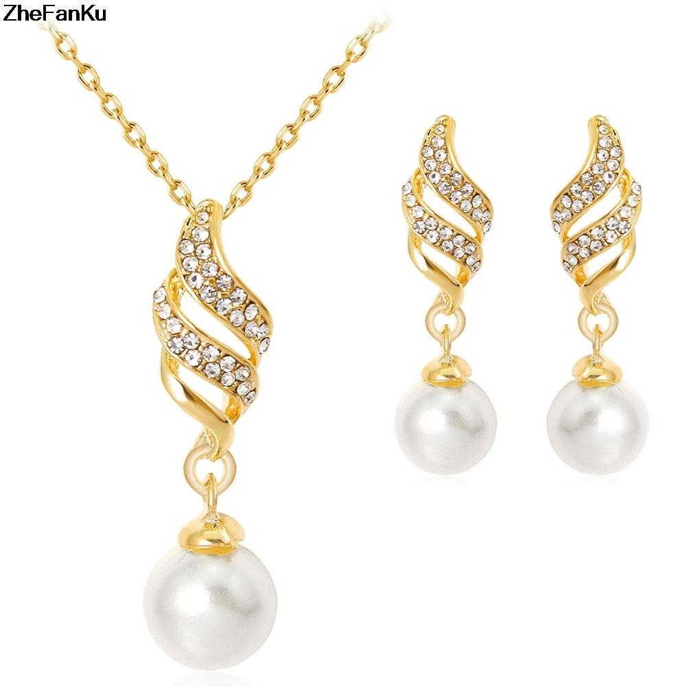e844514b8f2f Compre 2019 Moda Mujeres Rhinestone Espiral Color Plata   Color Dorado  Collar Colgante + Pendientes De Gota Conjunto De Joyas A  34.2 Del  Shuidianba ...
