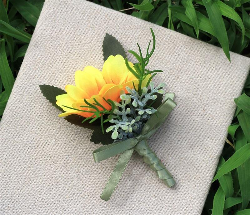 Artificial Flower Sunflower Brooch Orange Color Groom Groomsman Wedding Decorative Flowers Broochs Hot Sale 3 88my E1