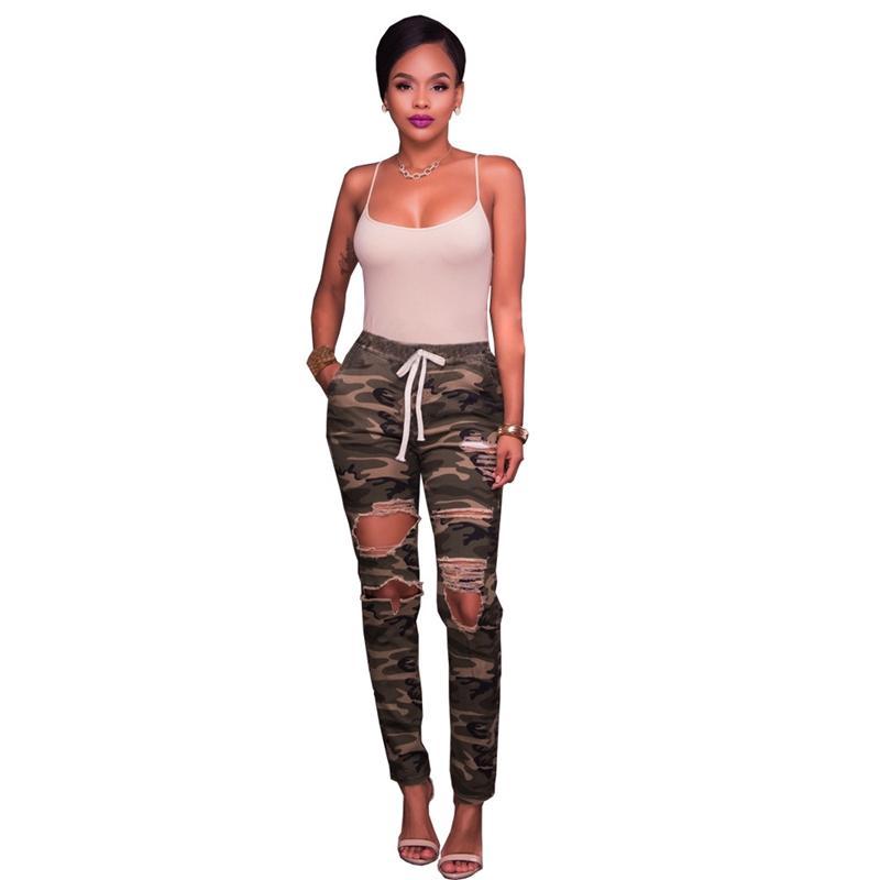 Señoras Pitillo Rodilla Vaqueros 2018 Estiramiento Mujeres Femme La Verdes Ejército Agujero Pantalones Camuflaje Rotos Chic Camo De trxsdQCh