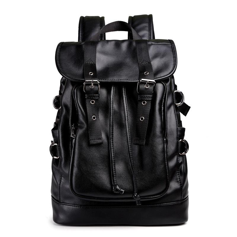 Black Pu Leather Men Backpack Casual School Bag For Teenagers Brand Waterproof 15 Inch Laptop Backpack Men's Travel Backpacks
