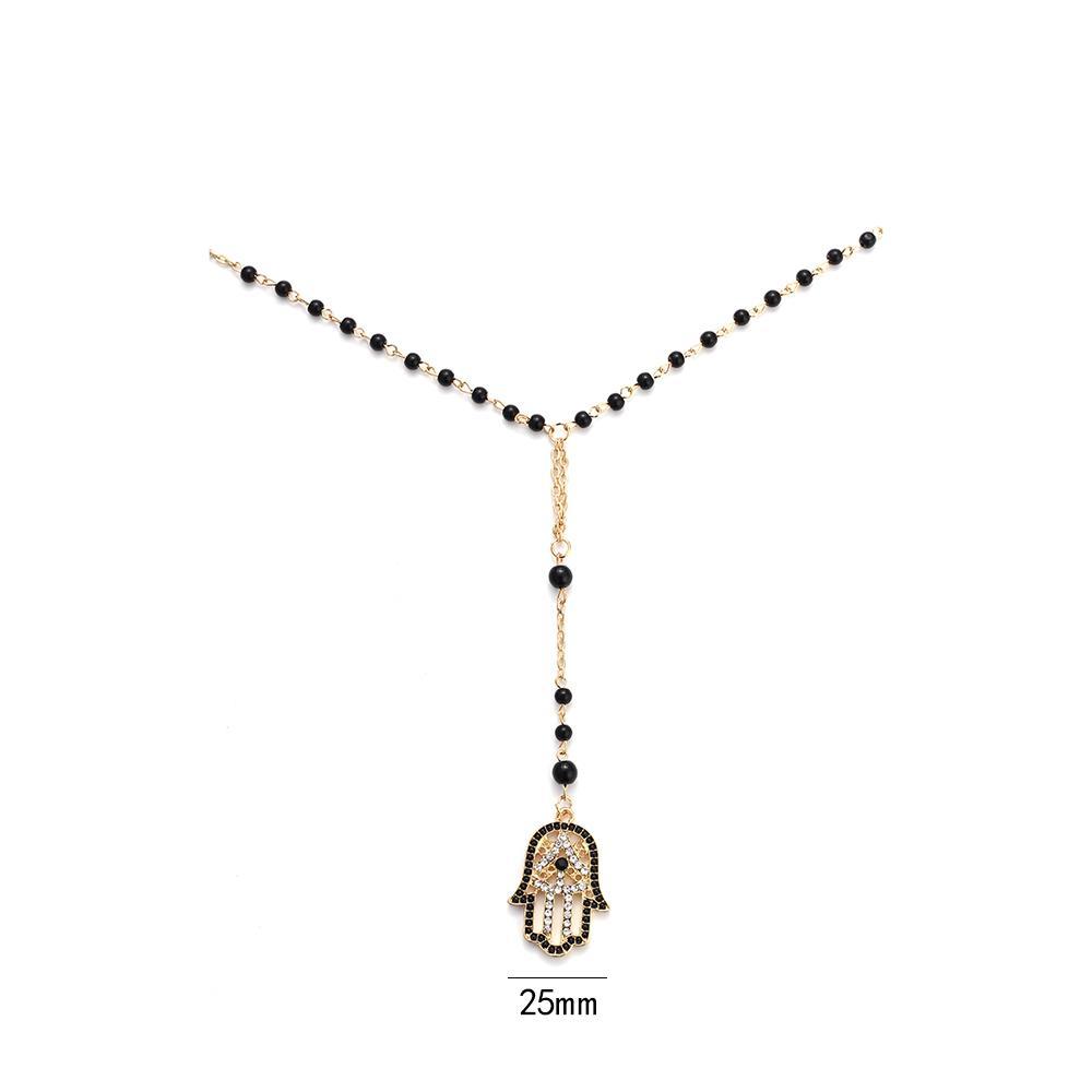 Lucky Eye Черные Бусы Ожерелье Турецкого Золота Звено Цепи Хамса Ожерелье Дурной Глаз Очарование Ожерелье Цепь Свитера EY105
