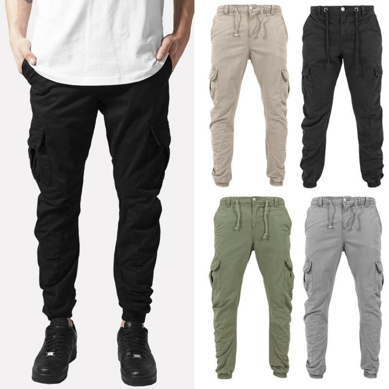 Fashion Men Cargo Pants Combat Work Trousers Casual Chino Cotton Pant Workwear Size Plus M-3XL