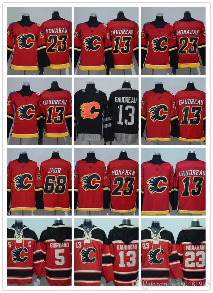 san francisco 1f6fa d43af Calgary Boy s Jersey Flames 13 Johnny Gaudreau 5 Mark Giordano 23 Sean  Monahan 68 Jaromir Jagr Red / Black Boy s Jersey