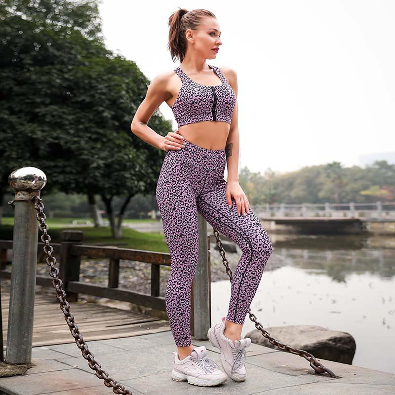 cb9b0d2e8aec3 Leopard Tracksuit Women Girls Push Up Bra+leggings Yoga Set Gym Exercise  Jogging Workout Clothing Tight Pants Fitness Jumpsuit
