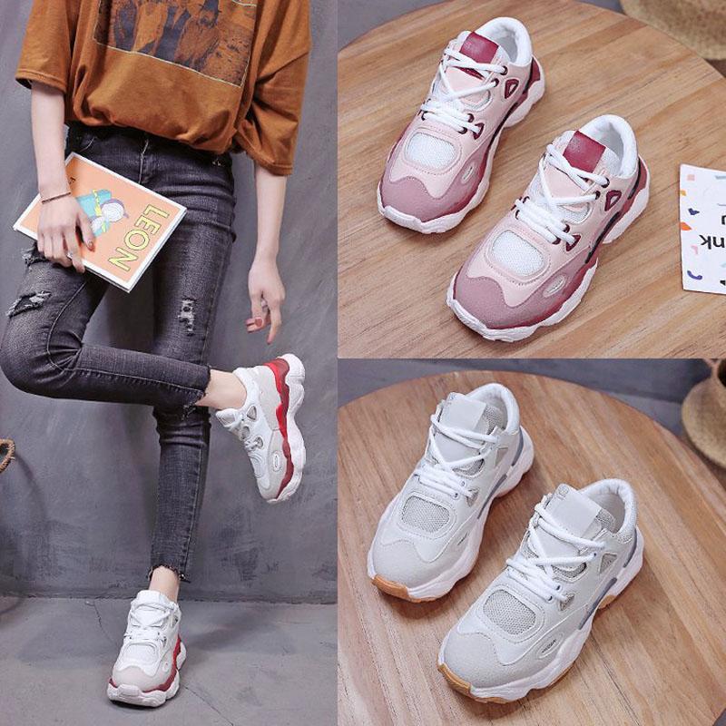f4f088f1f Compre Nova 2019 Primavera Moda Feminina Sapatos Casuais Sapatos De  Plataforma De Couro De Camurça Mulheres Sapatilhas Senhoras Cores  Misturadas Formadores ...