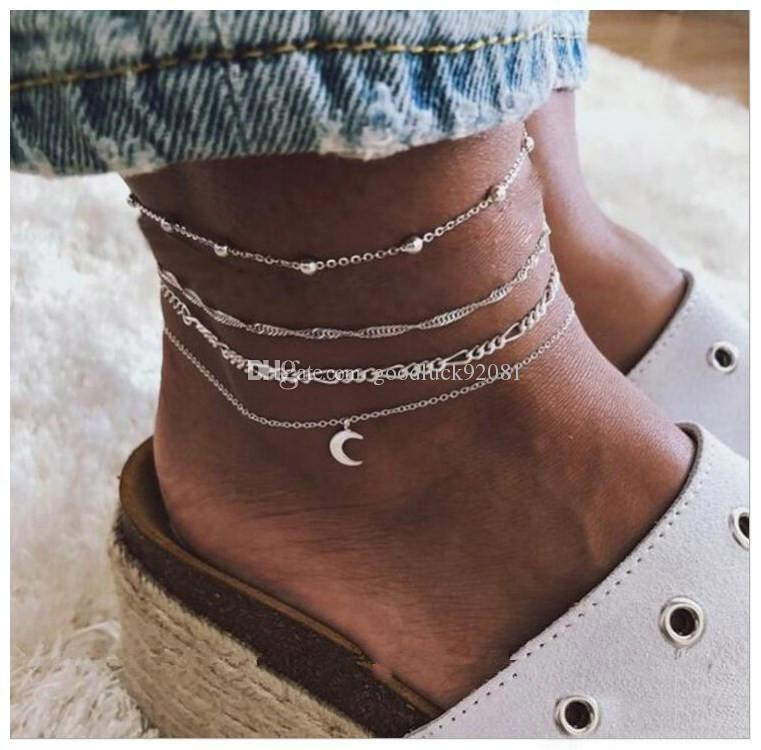Fashion 4 Layer beach Anklet Foot/Leg chain Bracelet Jewelry For Summer vacation Barefoot Sandals free shipping