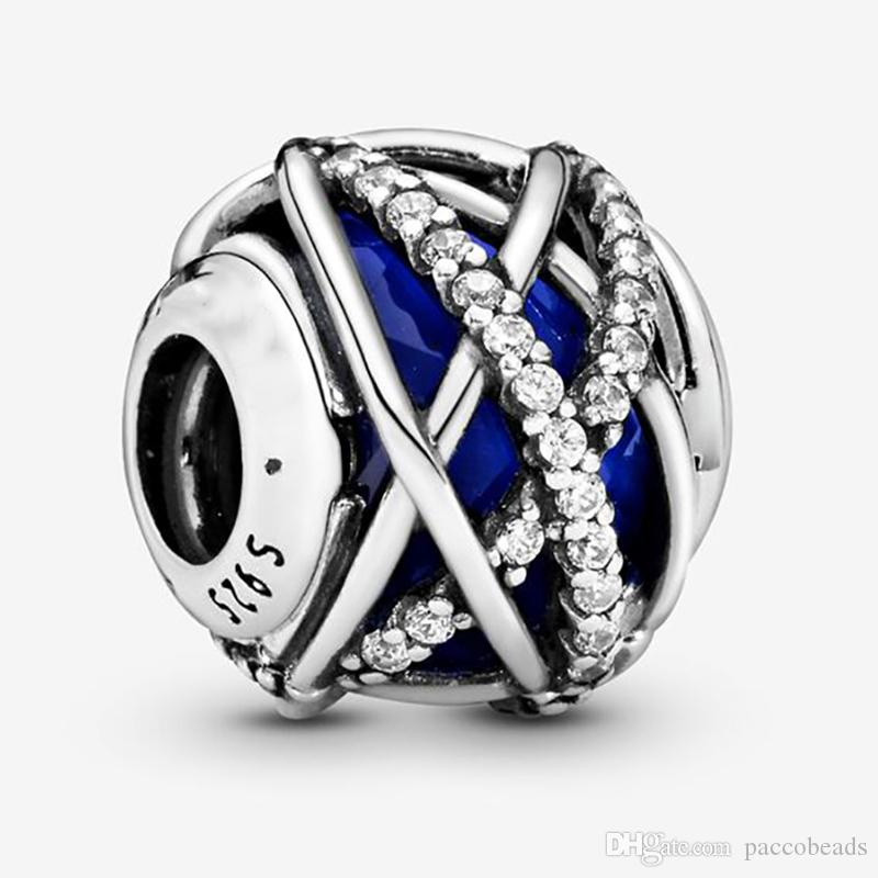 Fit Pandora Bracelet Charm Blue Galaxy Sterling Silver 925 Original Authentic Jewelry European DIY Making Beads New For Women