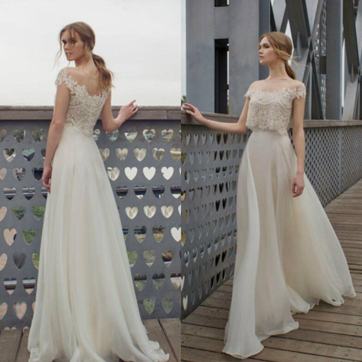 Limor Rosen Summer Boho Wedding Dresses Sheer Neck Lace Short Sleeves Chiffon Beach Wedding Dress Cheap Bridal Gowns Custom Made