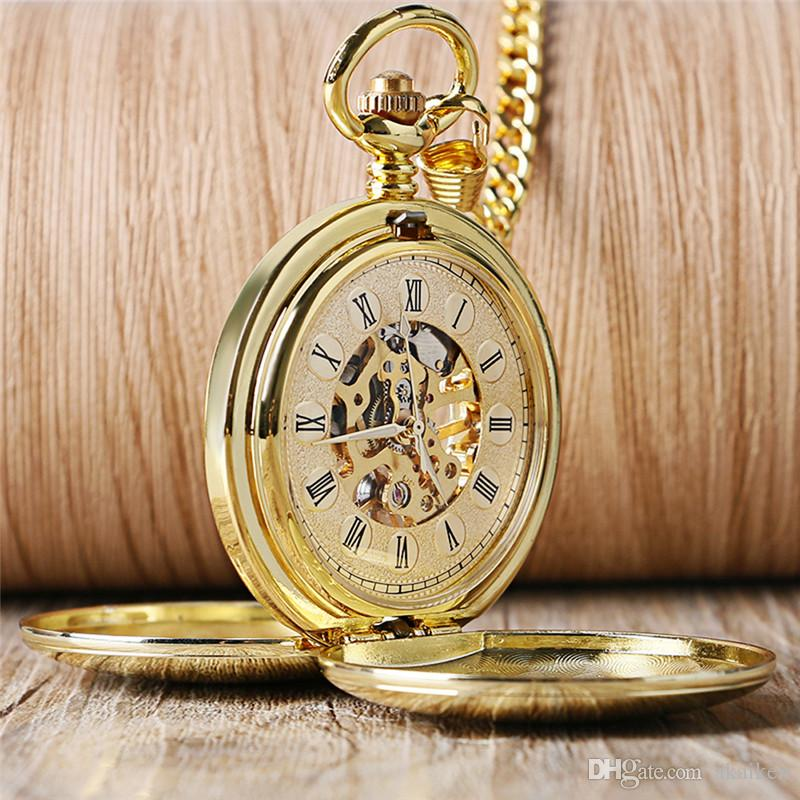 Golden/Silver Hand Wind Mechanical Pocket Watches Luxury Smooth Roman Numerals Dial FOB Pendant Chain Steampunk Men Gift