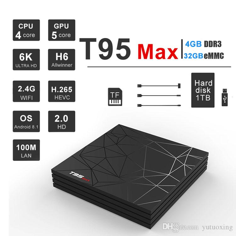 Cheapest Android TV Box T95 Max H6 Chip Quad Core 4GB 32GB Android 9 0 2 4G  Wifi Set Top Box