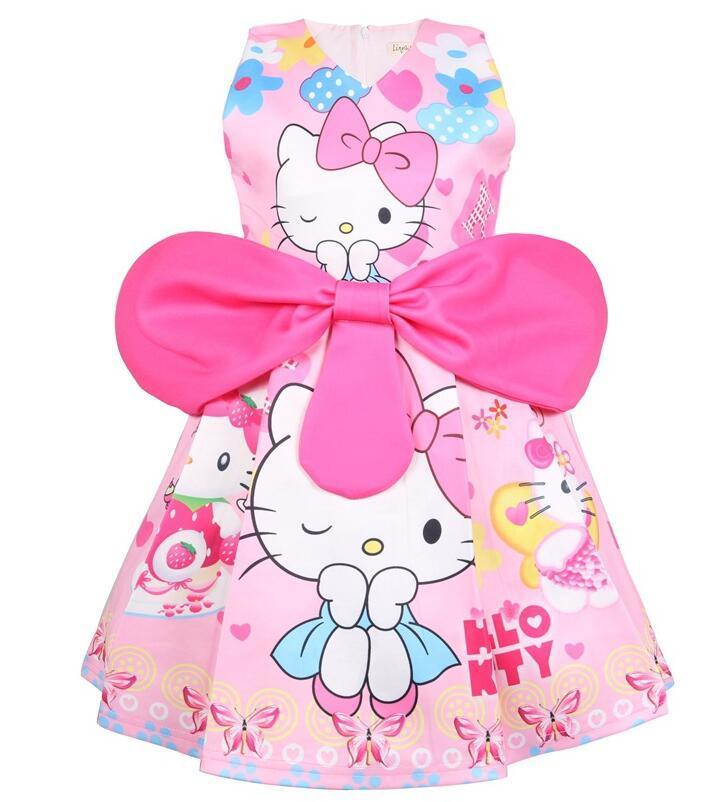 100% authentic 20b5c d44d0 Summer Girls Dress Hello Kitty Abiti per ragazze Party Dress Regalo di  compleanno Costume Princess per bambini Abbigliamento 2-7Yrs