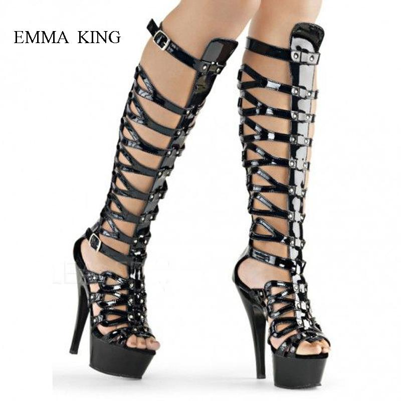 1cd50bfa1f274d Summer Sexy Ladies Hollow Out Metal Buckle Strap Platform Sandals Boots  Thin High Heels Women Knee High Botas Mujer Footwear Fringe Boots From  Tradingmk