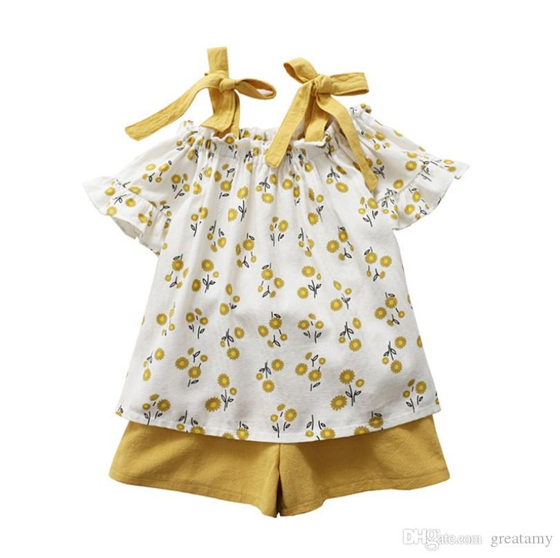 Summer girls floral outfits fresh flower kids suspender T-shirt+shorts 2pcs clothing set girls casual clothes suit