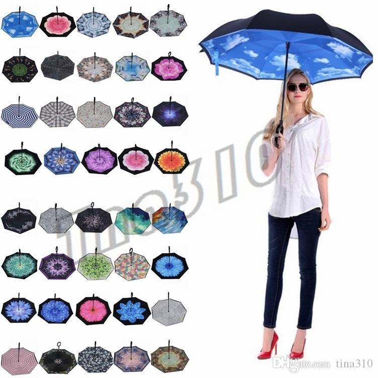 2809dfcb6d8a2 Folding Reverse Umbrella 85 Styles Double Layer Inverted Long Handle ...