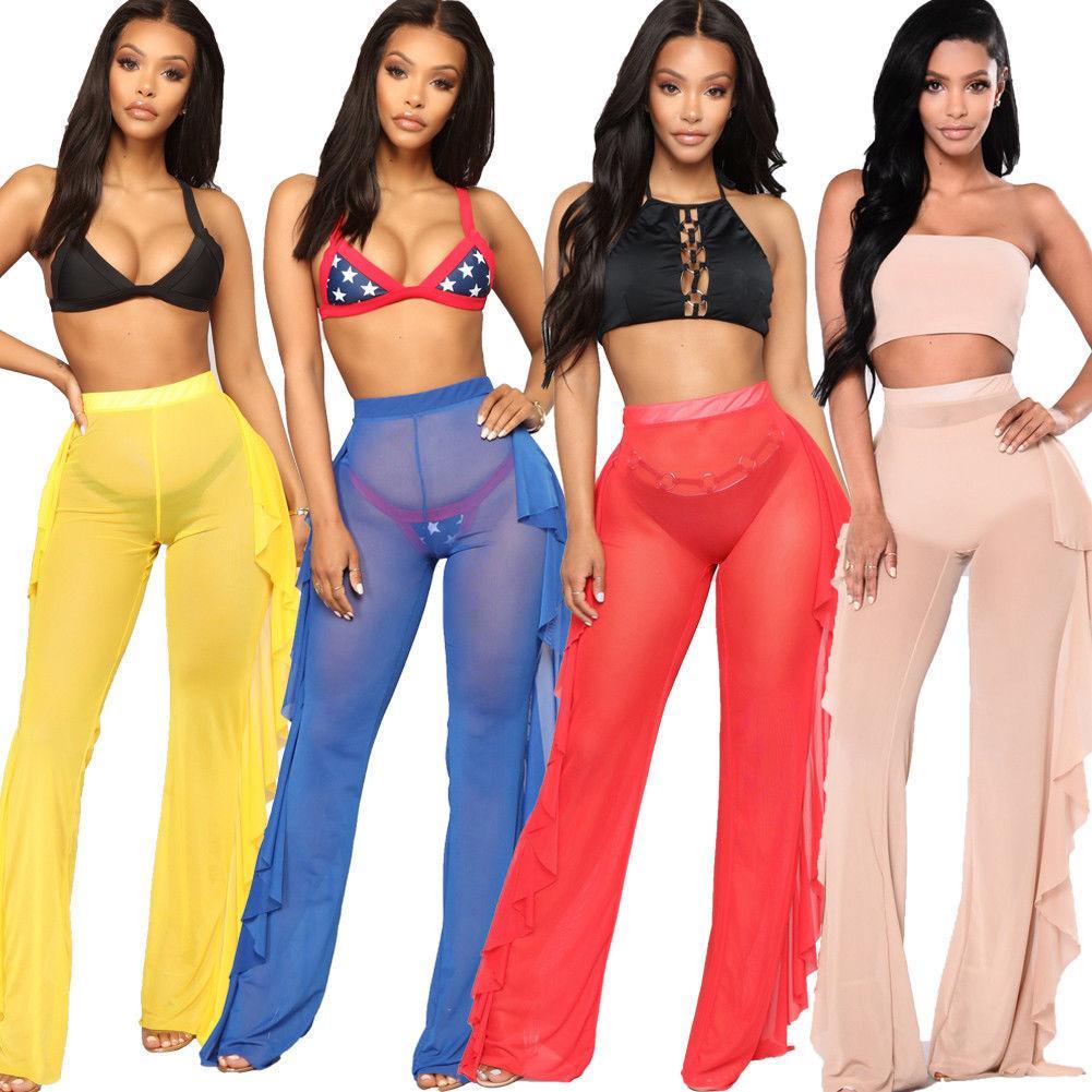 7557e1f2d217c 2019 New Summer Ruffles Swim Pants Women Beach Mesh Sheer Bikini Cover Up  Swimwear Bathing Suit Pant From Youlezhe, $8.91 | DHgate.Com