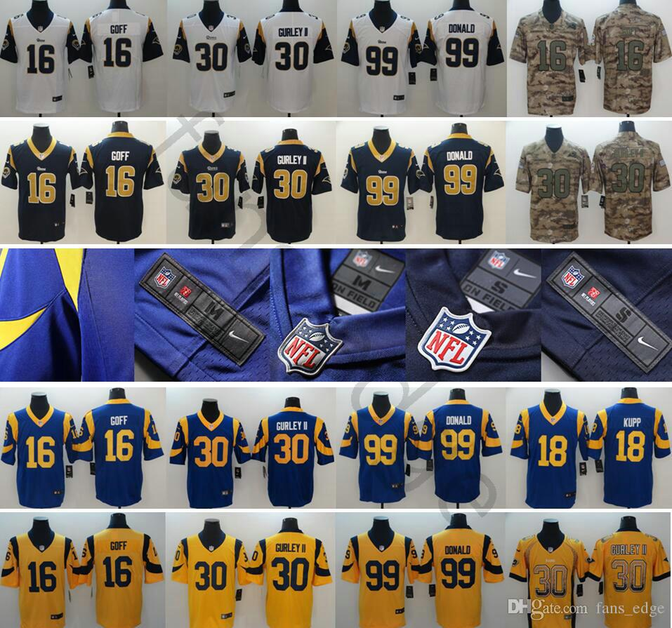 huge selection of ada1b ea53e 2019 New Los Angeles Football Jerseys Stitched 30 Todd Gurley II 16 Jared  Goff 99 Aaron Donald Rams 12 Brandin Cooks 18 Cooper Kupp Jersey