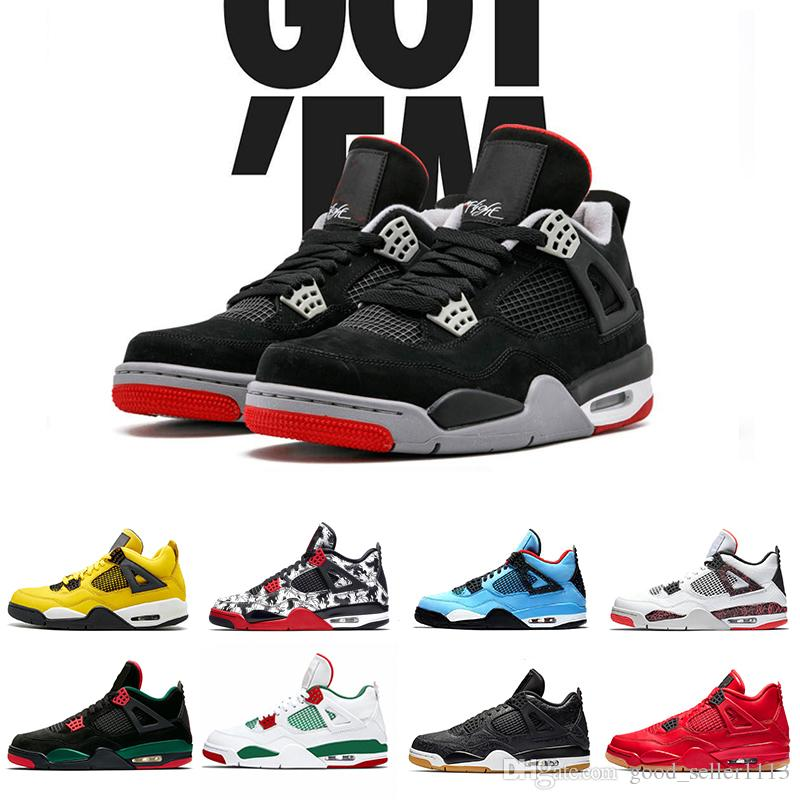 huge selection of 1817d 52dfc 2019 Newest Bred 4 IV 4s Flight Nostalgia Men Basketball Shoes Black Cat  Fire Red Lightning Pizzeria mens Sports Trainers Sneakers 8-13