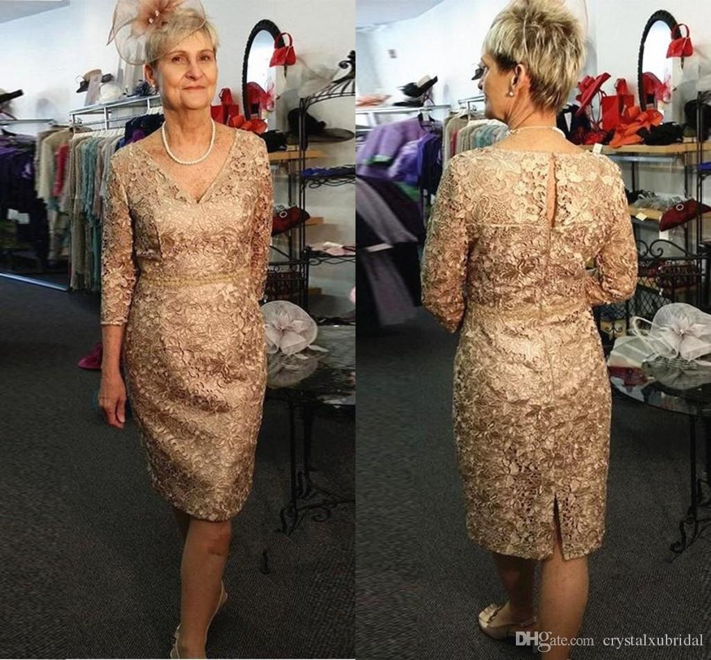 1bfdcdd5477 2019 Mother Of The Bride Dresses V Neck Gold Full Lace Long Sleeves Belt Knee  Length Wedding Guest Dress Plus Size Mother Gowns Summer Mother Of The  Bride ...