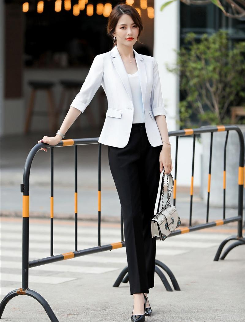 44b07f4aa2a13 2019 Spring Summer Formal Ladies White Blazer Women Business Suits With Pant  And Jacket Sets Work Wear Office Uniform Styles From Meizuang, $77.09 |  DHgate.