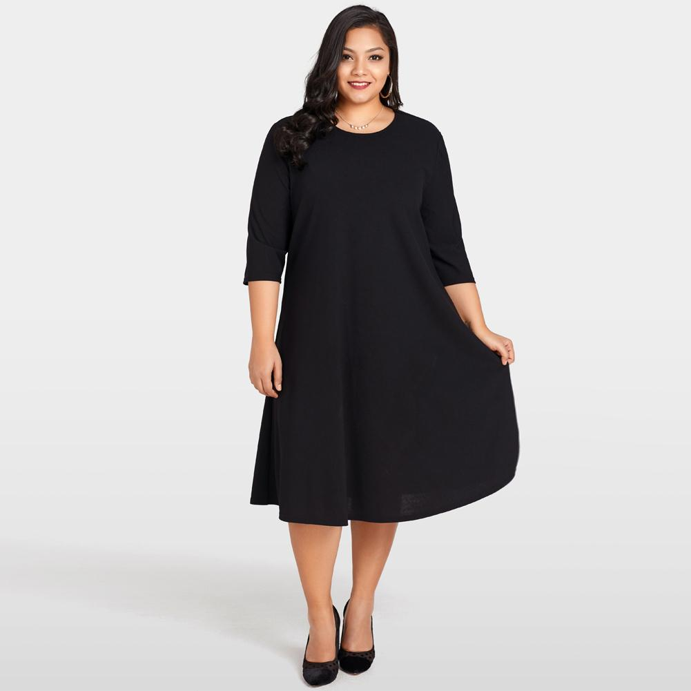 7bc1747bce3 Elegant Women Plus Size Dress 2019 O-Neck 3/4 Sleeve Rockabilly Dress Lace  Back Solid Dresses Large Sizes Black Womens Clothing