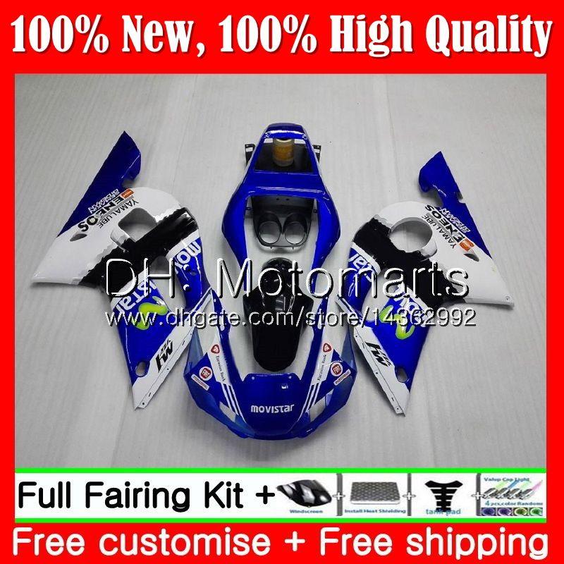 Kit For YAMAHA YZF R6 Movistar Blue YZF600 YZFR6 98 99 00 01 02 88MT21 YZF 600 YZF-R600 YZF-R6 1998 1999 2000 2001 2002 Fairing Bodywork