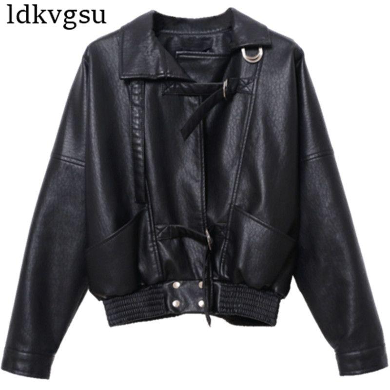 new style 65f76 a0840 2019 cappotto caldo giacche corte donna primavera autunno vintage harajuku  giacca moto nero ecopelle cappotti capispalla femme v399