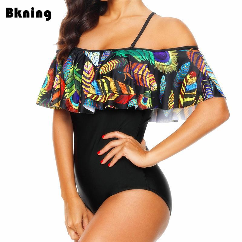 Bkning Short Sleeve Swimsuit One Piece Swimming Suit For Women Black And White Striped Badpak Underwire Swimwear Fused 2019 New Sports & Entertainment