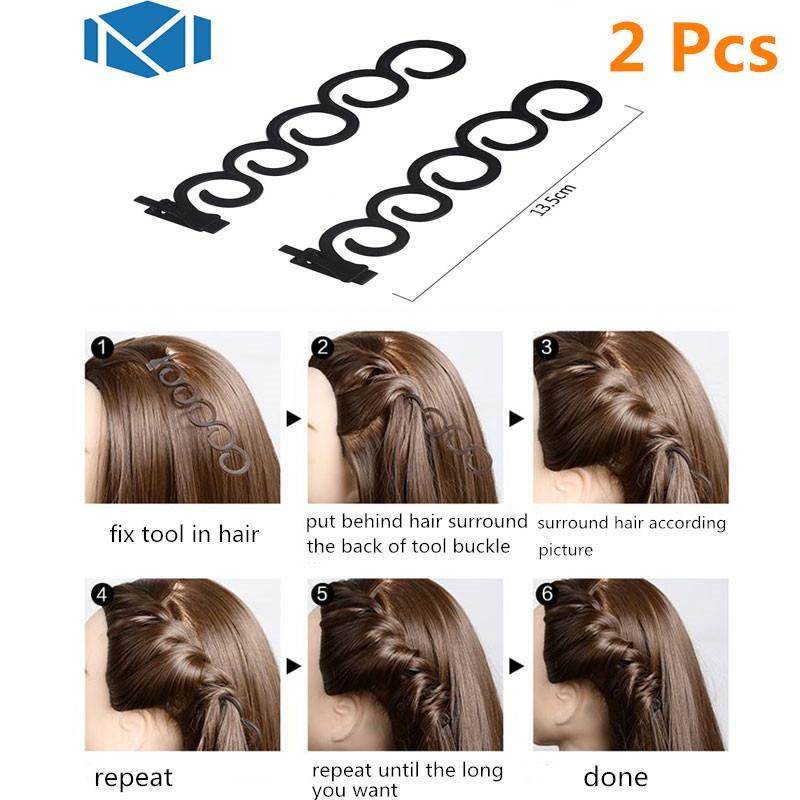 6fbd332e M MISM 2 unids / set 13.5 cm / 5.3 pulgadas creador de estilos de Pelo  Tress Tool Accesorios para el cabello Mágico DIY disco fácil simple Para ...