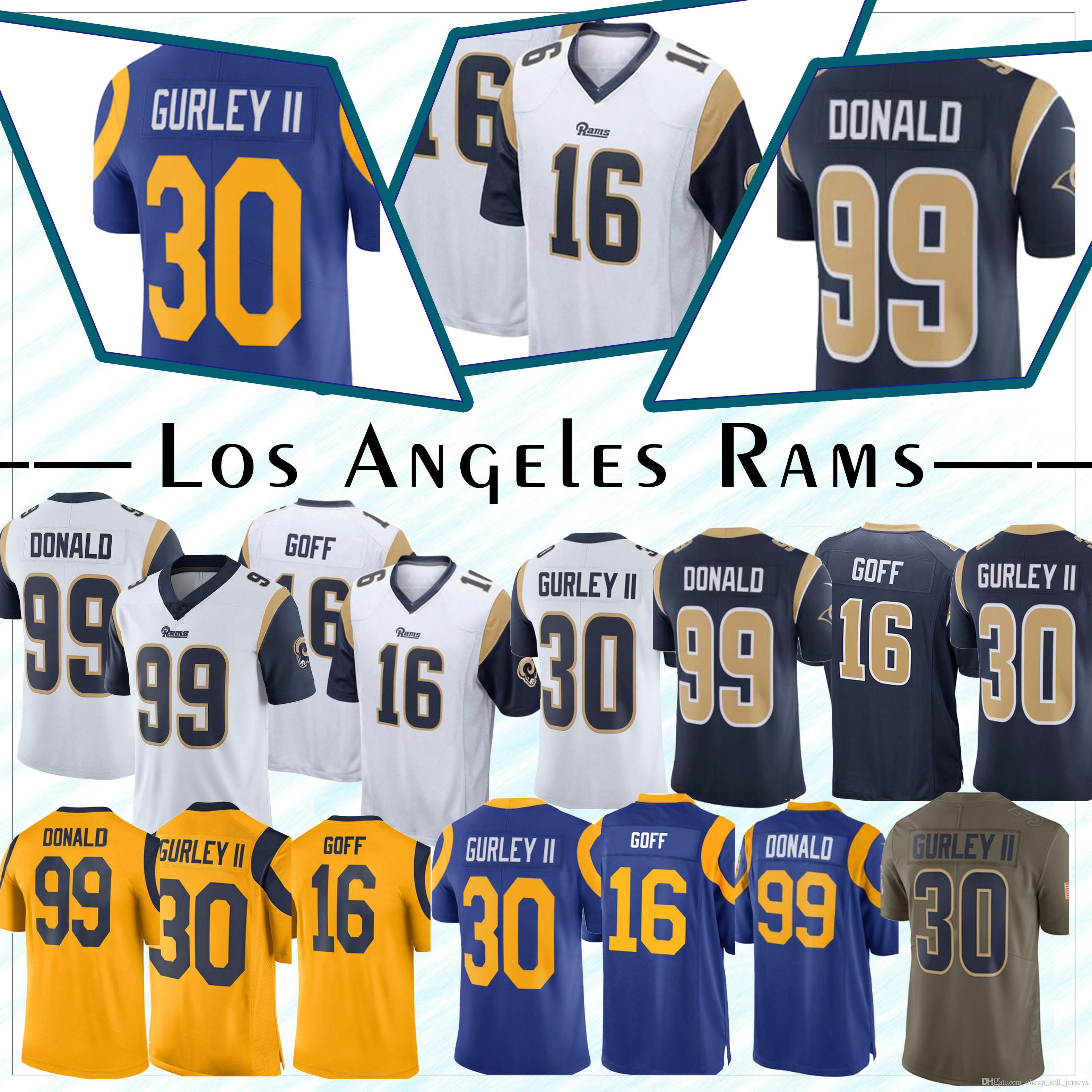 wholesale dealer ef534 89c44 16 Goff Jersey 30 Gurley jersey Los Angeles jersey Rams 99/90 Aaron Donald  5 Nick Foles Los Angeles