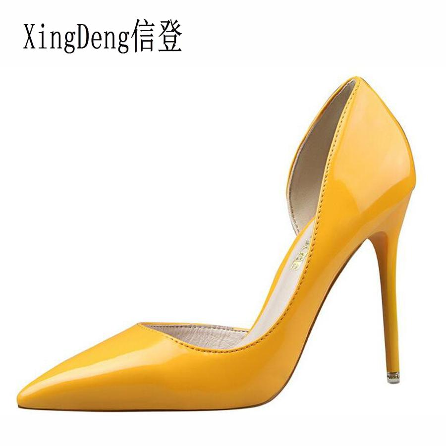 15b99b9d792c Dress Xingdeng Women Patent Leather Pointed Toe Sexy Wedding Party High  Heels Pumps Shoes Ladies Thin Heels Design Dress Stilettos Loafers Mens  Boots From ...