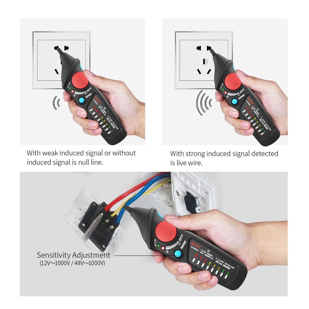 Não-contato Testador de Tensão AC Caneta Auto / Manual de Modo Dual NCV Tester Live Wire Verificar Voltímetro Medidor