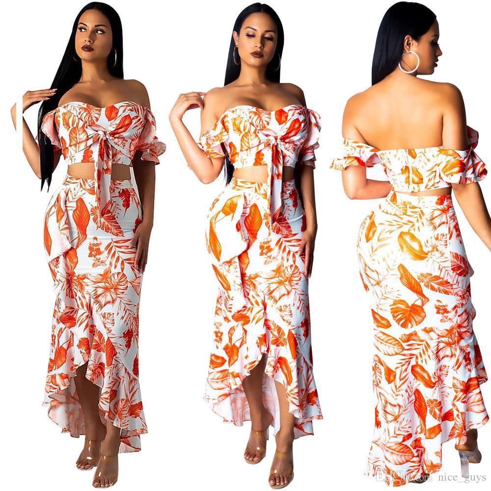 5ef92e6b187f3 Sexy Floral Printed Two Piece Set Women Off Shoulder Bandage Tops + Ruffle  Maxi Skirts Female Summer Beach 2 Piece Set Slim