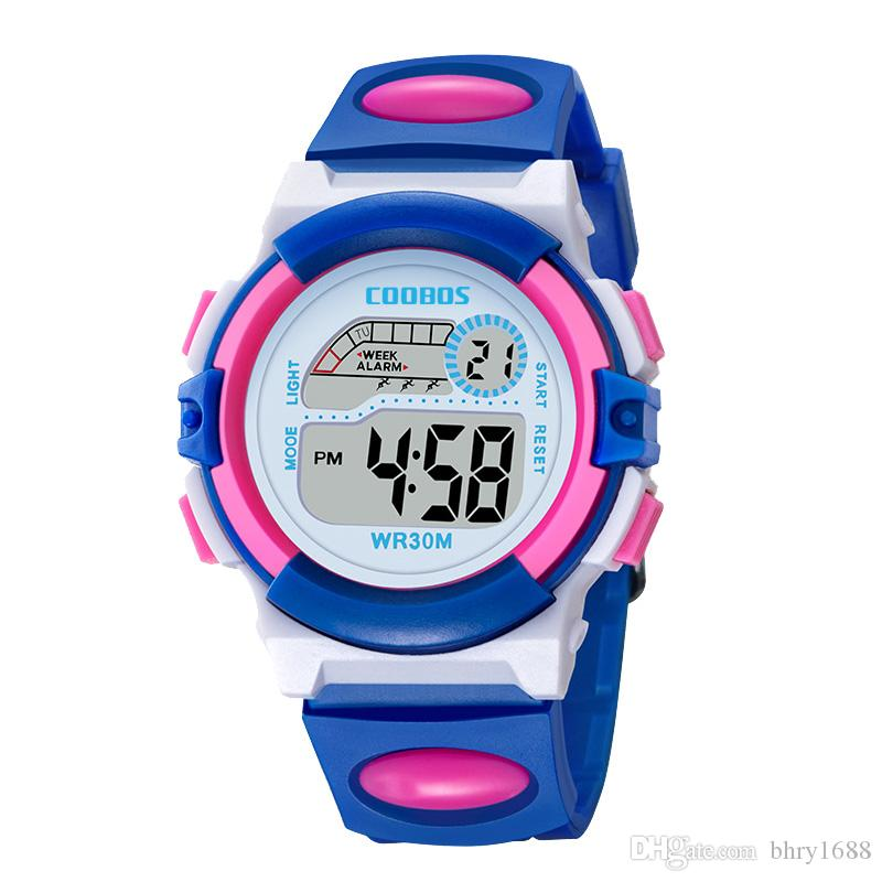 Children's Watches Creative Casual Digital Watch Children Waterproof Men Boy Led Digital Alarm Date Sport Led Light Watches Girls Digital Watches