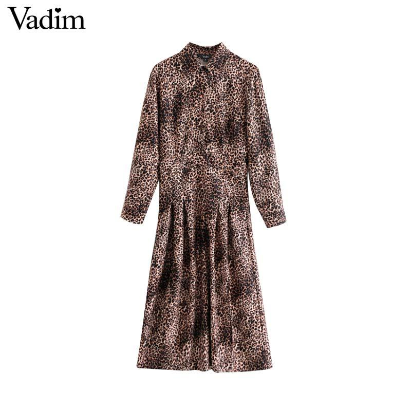 a1afd1a65 Vadim Women Leopard Print Midi Shirt Dress Pleated Animal Pattern Long  Sleeve Female Retro Casual Dresses Vestido Mujer QA896 Summer Dresses  Floral Dresses ...