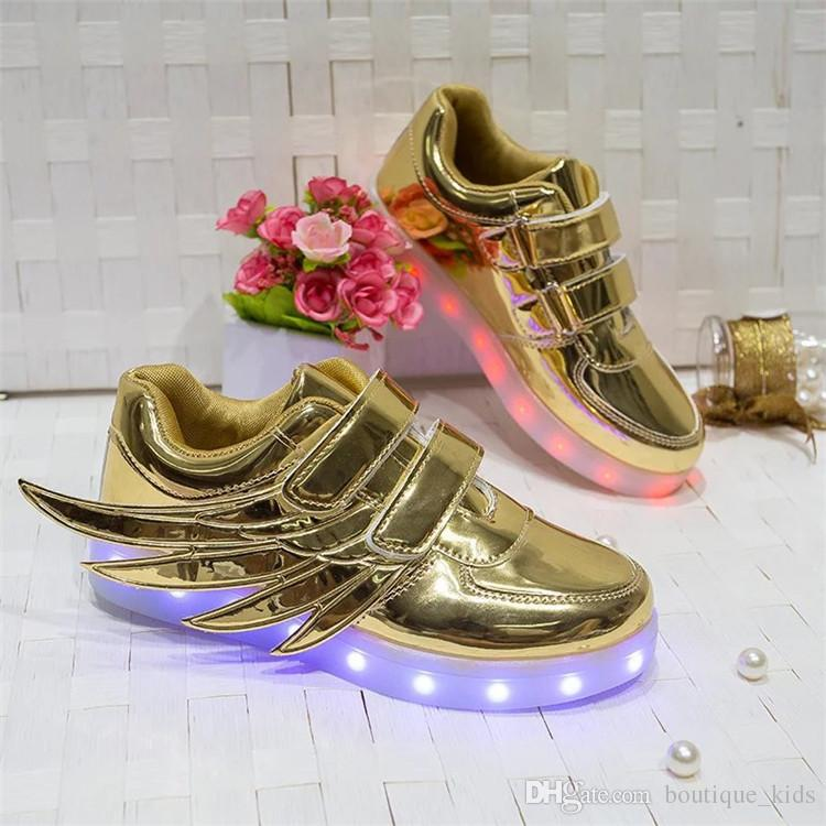 Children Led Shoes Baby Kids Casual Wings Shoes Colorful Glowing Baby Boys  And Girls Athletic Sneakers USB Charging LED Light Up Shoes Boys Trail Shoes  ... 43bb06733bba
