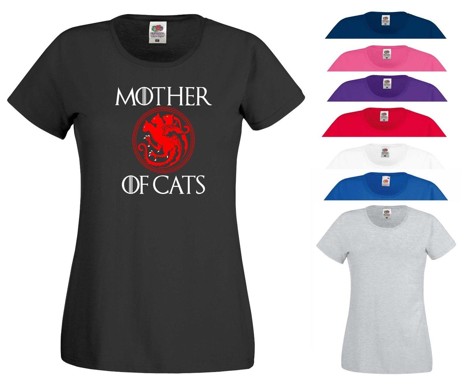 Mother Of Cats T Shirt Cat Lovers Game Thrones Birthday MotherS Day Gift Top Men Women Unisex Fashion Tshirt Black Funky Design Every