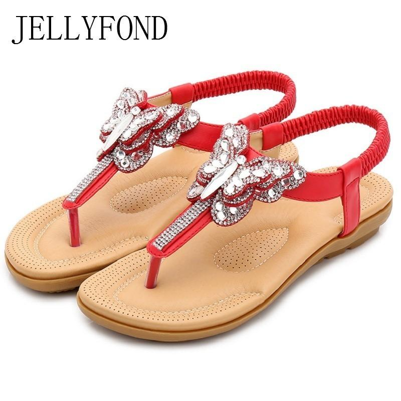 Summer Shoes Woman Beach Sandals 2019 New Fashion Women Gladiator Flip  Flops Flat Sandals Crystals String Thong Casual Sandalias Leather Sandals  Wedding ... 7c40544b629c