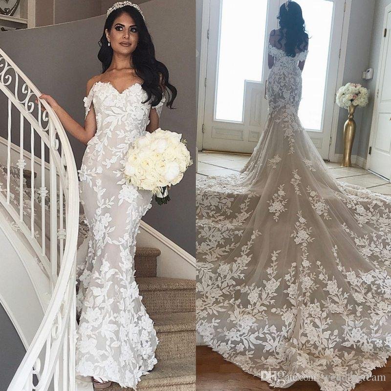 86dcfbd4195fd 2019 Mermaid Lace Wedding Dresses Off The Shoulder 3D Appliqued Bridal  Gowns Chapel Train Trumpet Tulle Vestido De Novia Mermaid Wedding Dresses  With Lace ...